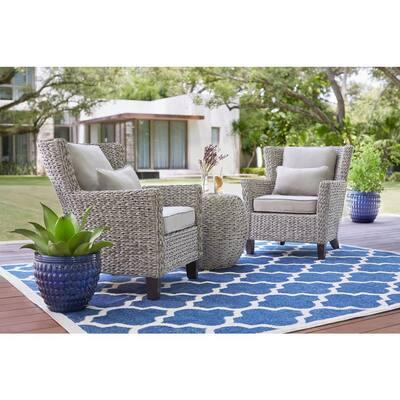 Megan Grey 3-Piece Wicker Outdoor Patio Bistro Set with Grey Cushion