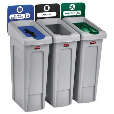 69 Gal. Slim Jim Recycling Station Kit, 3-Stream Landfill/Mixed Recycling