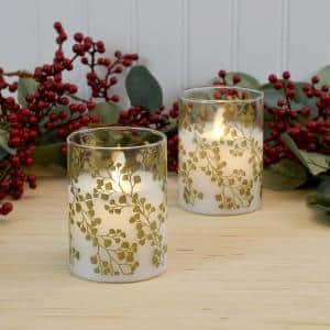 Gold Maidenhair Fern Battery Operated LED Glass Candles with Moving Flame (Set of 2)
