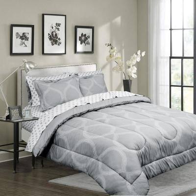 Ogee Grey Queen Microfiber Bed in a Bag with Solid Reversible Comforter