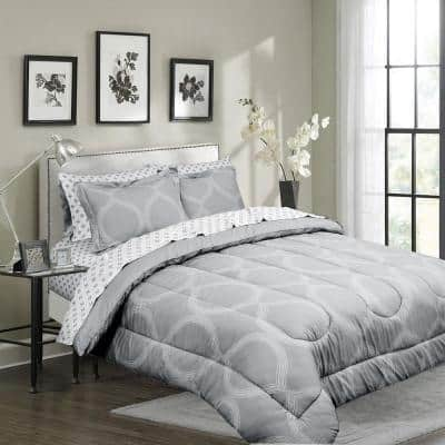 Ogee Grey King Microfiber Bed in a Bag with Solid Reversible Comforter
