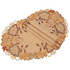 Xia Home Fashions 0 1 In H X 16 In W Round Harvest Verdure Embroidered Cutwork Fall Placemats Set Of 4 Xd16090116round The Home Depot