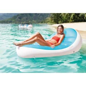 Petal Floating Lounge Chair Pool Float Lounger with Cupholder, Blue and White