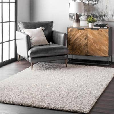 Clare Solid Shag Cream White 8 ft. x 10 ft. Area Rug