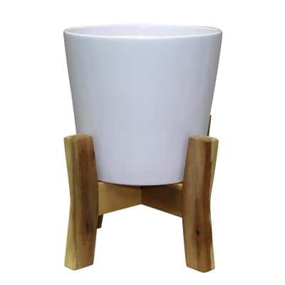 Contemporary 8 in. x 11.02 in. White Ceramic Pot With Wood Stand