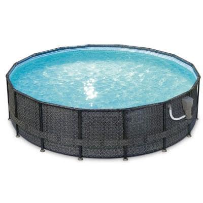 48 in. Oval 192 in. D Above Ground Swimming Pool Set with Pump