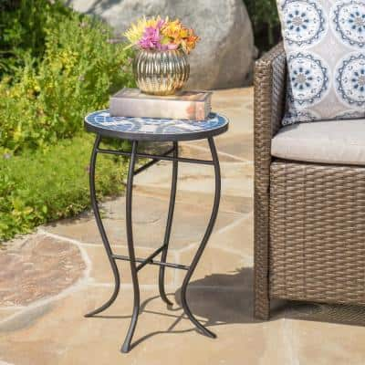 Round Metal and Stone Outdoor Side Table