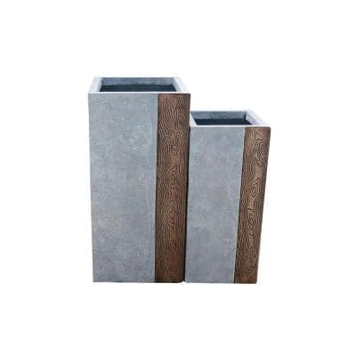 28 in. and 24 in. Tall  Timber Ridge Lightweight Concrete Tall Modern Square Outdoor Planter Set