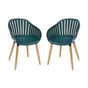 Nassau Green Stationary Plastic Outdoor Dining Chair with Eucalyptus Legs (Set of 2)