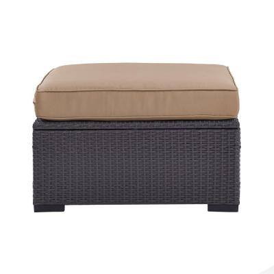 Biscayne Wicker Outdoor Patio Ottoman with Mocha Cushions