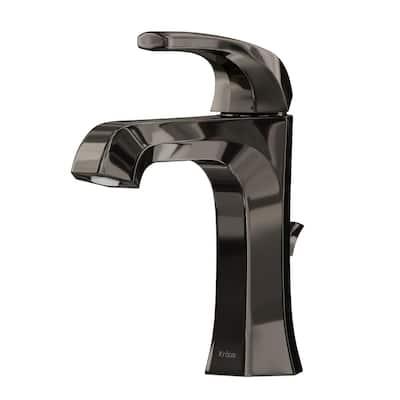 Esta Single Hole Single-Handle Basin Bathroom Faucet with Lift Rod Drain in Gray