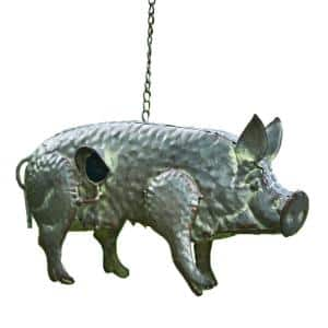 Gray Galvanized Hanging Animal Pig Birdhouse