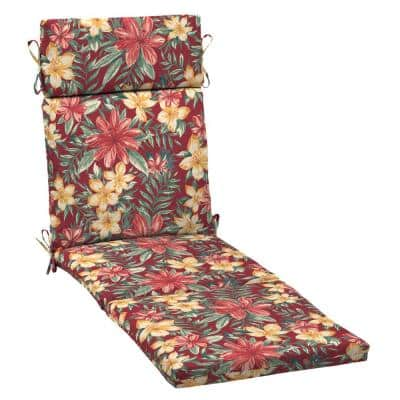 21 in. x 29.5 in. Outdoor Chaise Lounge Cushion in Ruby Clarissa Tropical