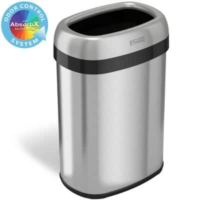 13 Gal. Oval Open Top Commercial Grade Stainless Steel Trash Can and Recycle Bin, 12 in. Opening with Dual-Deodorizer