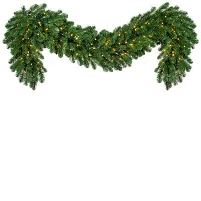 9 ft. Pre-Lit LED Artificial Oregon Fir Commercial Christmas Garland with 200 Lights, 20 in. W