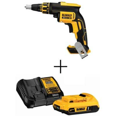20-Volt MAX XR Cordless Brushless Drywall Screw Gun (Tool-Only) with 20-Volt 2.0 Ah MAX Li-Ion Battery Pack and Charger