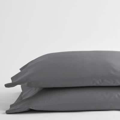 Legends Luxury Solid Gray Smoke 500-Thread Count Cotton Sateen Standard Pillowcase (Set of 2)