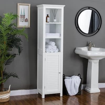 17 in. W x 13.5 in. D x 65.5 in. H Floor Cabinet with 3-Shelf and 1-Door in White