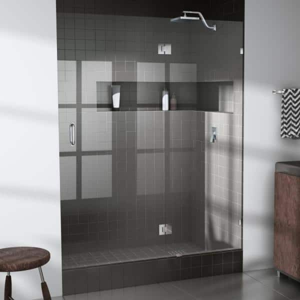 Glass Warehouse 58 25 In X 78 In Frameless Glass Pivot Hinged Shower Door In Chrome Gw Gh 58 25 Ch The Home Depot