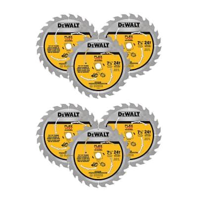 FLEXVOLT 7-1/4 in. 24-Teeth Carbide-Tipped Circular Saw Blade (6-Pack)