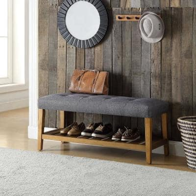 Amelia Gray And Oak Fully Padded Button Bench