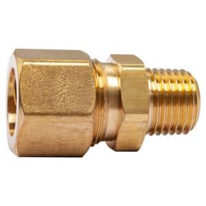 1/2 in. O.D. Comp x 1/4 in. MIP Brass Compression Adapter Fitting (5-Pack)