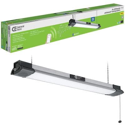 40 in. 64-Watt Equivalent Integrated LED Black Brushed Nickel Shop Light with Bluetooth Speakers3500 Lumens4000K