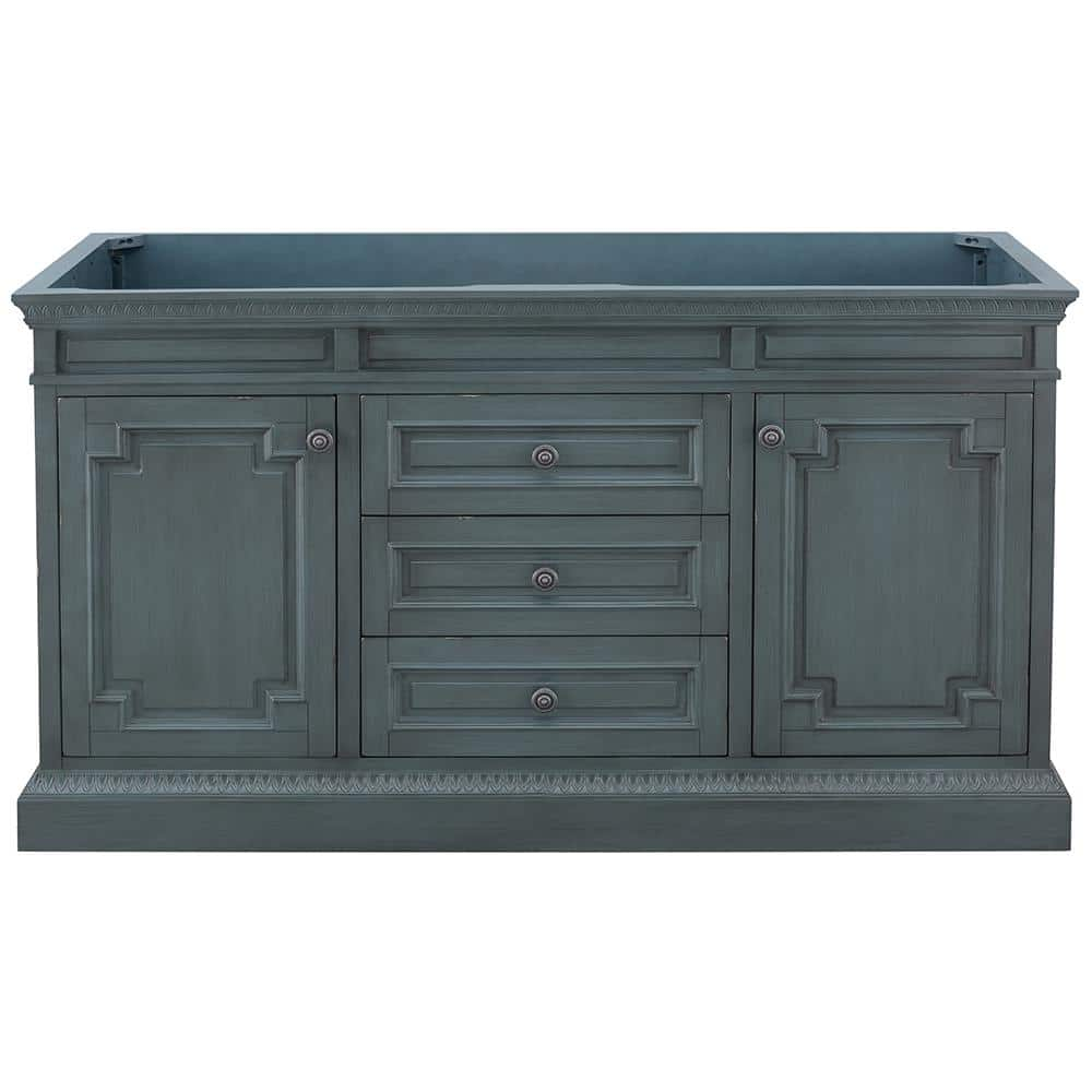 Home Decorators Collection Cailla 60 In W X 21 50 In D Bath Vanity Cabinet Only In Distressed Blue Fog Ckbv6022d The Home Depot
