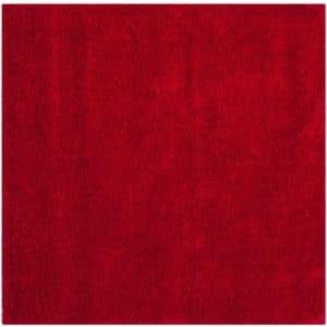 Milan Shag Red 5 ft. x 5 ft. Square Solid Area Rug