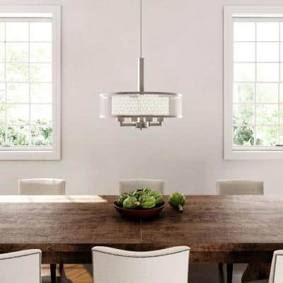 Mingle Collection 4-Light Brushed Nickel Pendant with Etched Parchment Glass