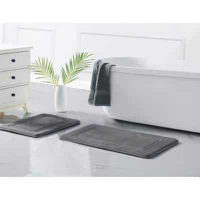 HeiQ Grey 20 in. x 32 in. Antimicrobial Memory Foam Bath Rug