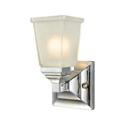 Sinclair 1-Light Polished Chrome With Frosted Glass Bath Light
