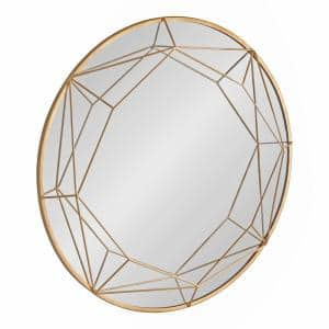 Keyleigh 30 in. x 30 in. Classic Round Framed Gold Wall Accent Mirror
