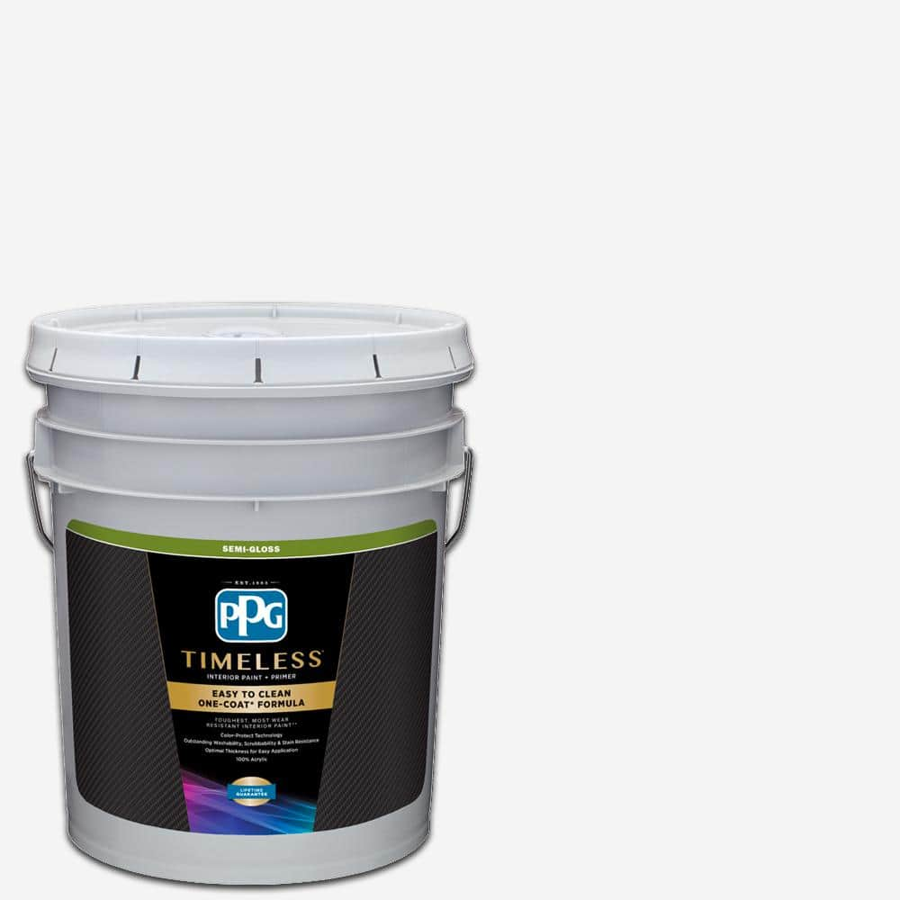 Ppg Timeless 5 Gal Pure White Base 1 Semi Gloss Interior Paint With Primer Ppg83 510 05 The Home Depot