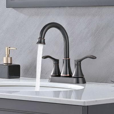 Spout 4 in. Centerset Double Handle High Arc Bathroom Faucet with Drain in Oil Rubbed Bronze