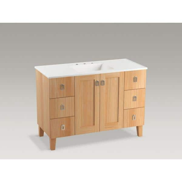 Kohler Poplin 48 In W Vanity Cabinet In Khaki White Oak With Vitreous China Vanity Top In White Impressions With Basin 99535lgsd1wfg81 The Home Depot