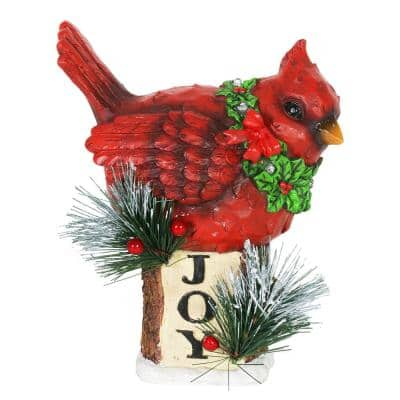 LED Cardinal on Joy Sign with Timer Garden Statue