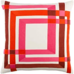 Gaskin Red Geometric Polyester 20 in. x 20 in. Throw Pillow