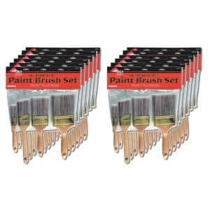 1 in Flat, 3 in. Flat, 4 in. Flat, 2 in. Angle Sash Polyester Brush Set (12-Pack)