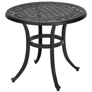 Classic Black Round Cast Aluminum Outdoor Patio Side Table