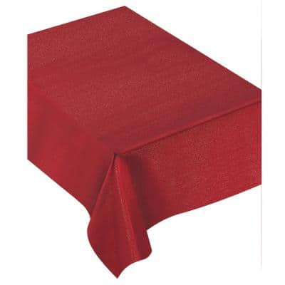 84 in. x 60 in. Red Fabric Luxury Christmas Table Cover
