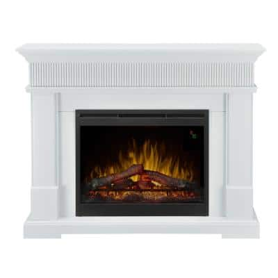 Jean 49 in. Freestanding Mantel Electric Fireplace with 28 in. Logs in White