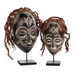Handmade Brown Barkcloth and Baobab Wood Chokwe Mask with Long Rope Hair - Set of 2