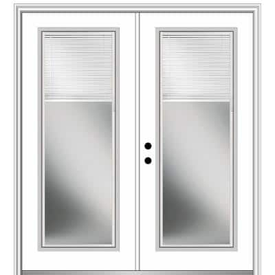 72 in. x 80 in. Internal Blinds Right-Hand Inswing Full Lite Clear Low-E Primed Fiberglass Smooth Prehung Front Door