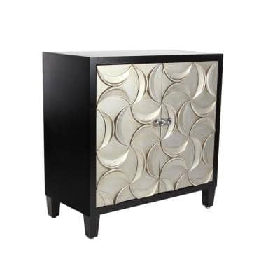 Black Rectangular Wooden 2-Door Cabinet with Crescent Moon-Shape Patterned Doors