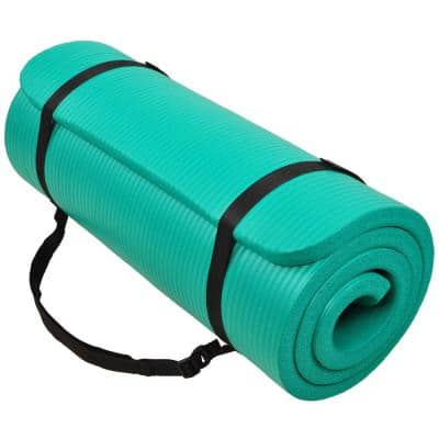 Multi-Purpose Green 24 in. W x 68 in. L x 1/4 in. Thick Foam Exercise Yoga Mat with Carrying Strap (11.8 sq. ft.)