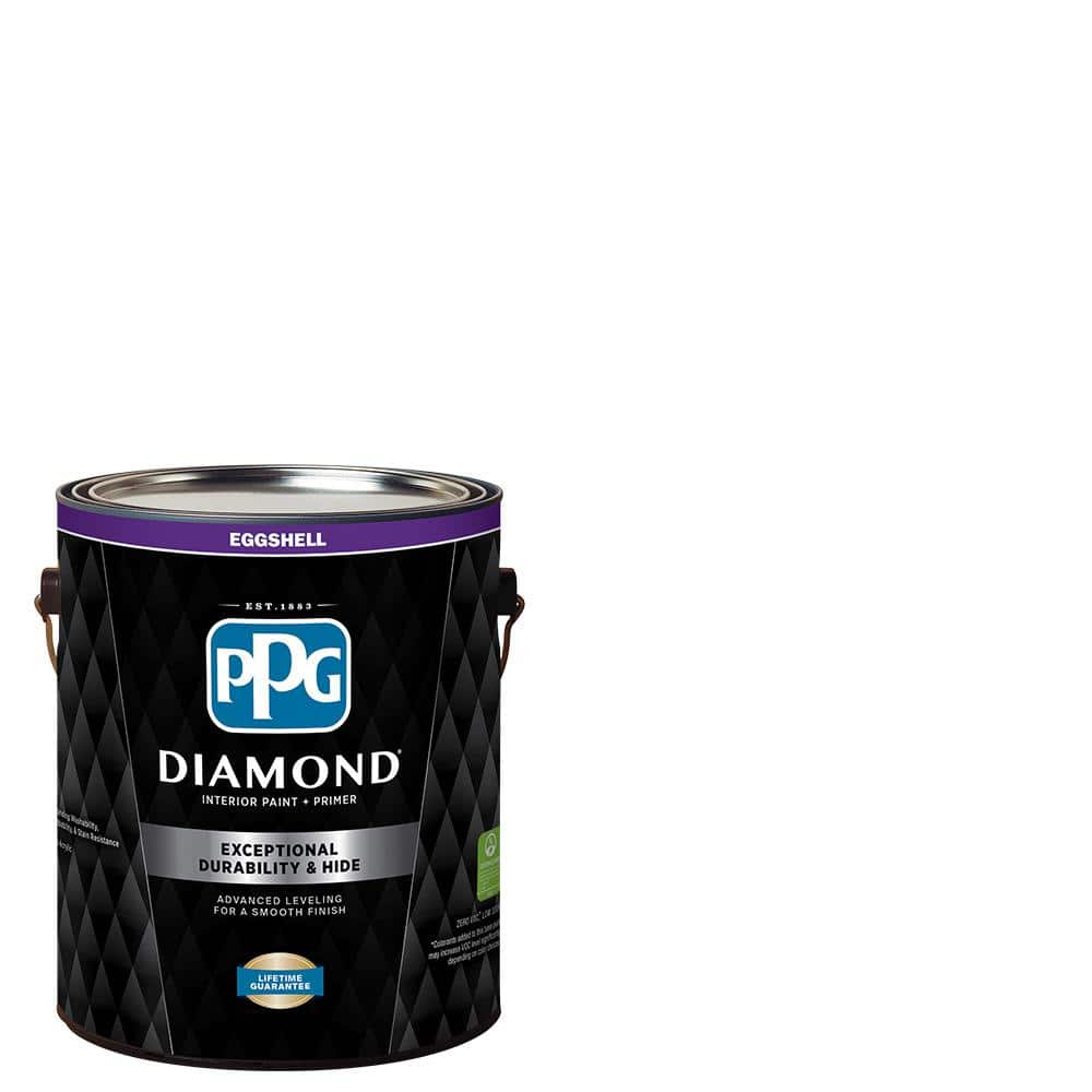 Ppg Diamond 1 Gal Pure White Eggshell Interior Paint And Primer Ppg53 310 01 The Home Depot