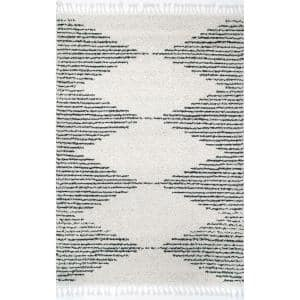 Bria Moroccan Diamond Shag Off-White 2 ft. x 3 ft. Area Rug