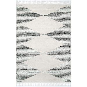 Bria Moroccan Diamond Shag Off-White 8 ft. Square Rug