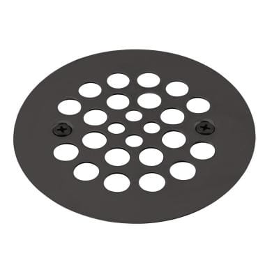 4-1/4 in. OD Brass Shower Strainer Grid with Screws in Matte Black